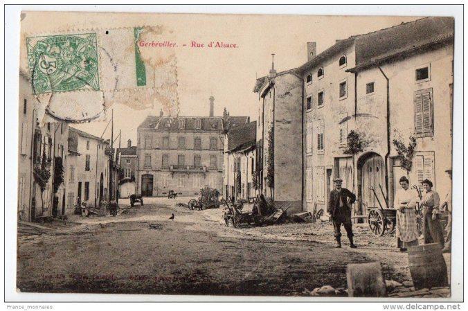 Gerbéviller, rue d'Alsace, début XXe siècle (source : Delcampe)