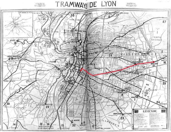 Plan du réseau de tramway de l'OTL en 1928, en rouge, le trajet de la ligne 11 (source : Annuaire des Chemins de fer et des Tramways (ancien Marchal) : Édition des réseaux français, Paris, 1928, 43e éd., 1334 p. Wikimedia Commons)
